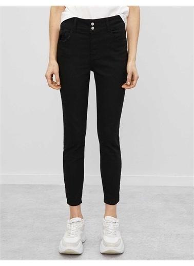 Koton Pamuklu Skinny Carmen Jean - Yüksek Bel Dar Kesim Dar Paça Pantolon Siyah